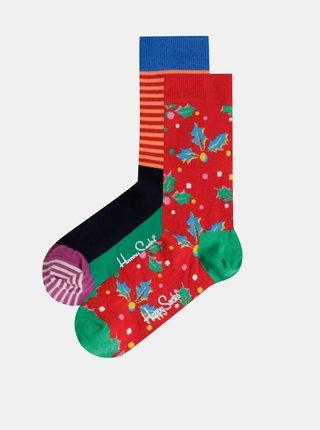 Sada dvoch párov vzorovaných ponožiek v zelenej a červenej farbe v darčekovej krabičke Happy Socks Christmas Cracker