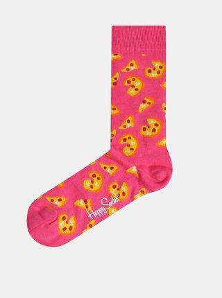 Růžové vzorované ponožky Happy Socks Pizza