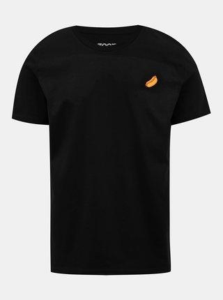 Čierne pánske tričko s potlačou ZOOT Original Párek v rohlíku