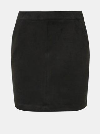 Čierna sukňa v semišovej úprave VERO MODA Donna