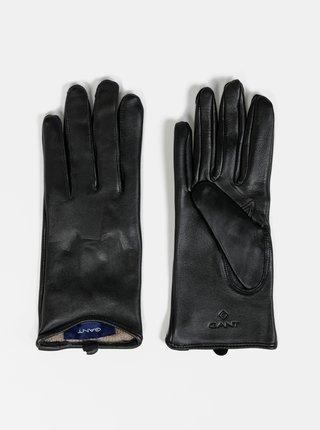 Černé dámské kožené rukavice GANT