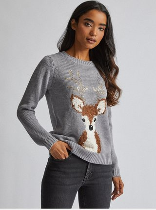 Šedý svetr s vánočním motivem Dorothy Perkins Petite
