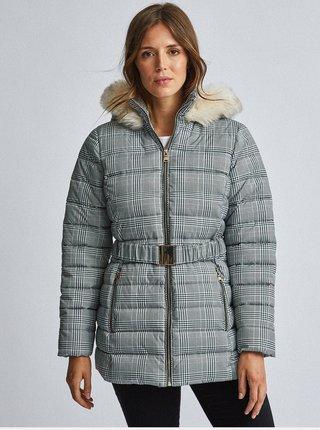 Šedá kockovaná prešívaná zimná bunda Dorothy Perkins