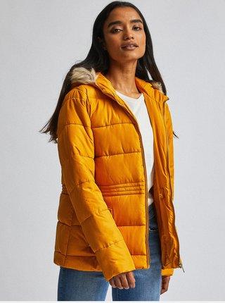 Horčicová prešívaná zimná bunda Dorothy Perkins Petite