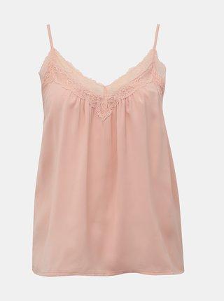 Světle růžový top s krajkou VERO MODA Amy