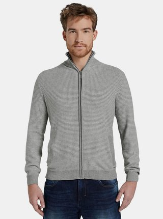 Světle šedý pánský svetr na zip Tom Tailor