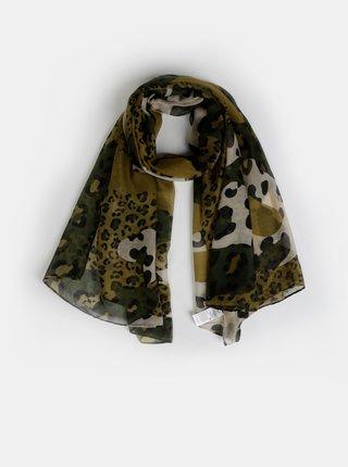 Khaki šátek s leopardím vzorem ONLY Leo Leo