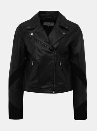 Čierna kožený bunda s semišovými detailmi VILA Blice