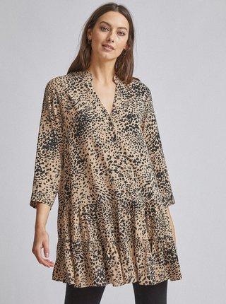 Svetlohnedá dlhá blúzka s gepardím vzorom Dorothy Perkins