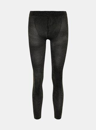 Čierne trblietavé pančuchové nohavice Pompea Lars