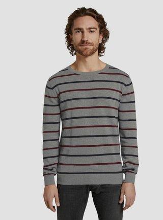 Šedý pánský pruhovaný svetr Tom Tailor