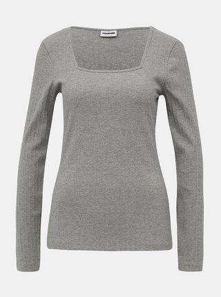 Svetlošedé rebrované tričko Noisy May Monica