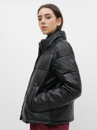Čierna koženková zimná bunda ONLY Shela