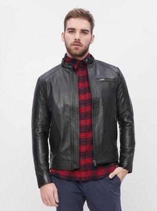Čierna kožená bunda Selected Homme