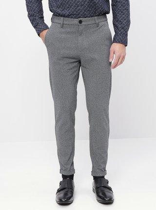 Šedé skrátené oblekové slim fit nohavice Lindbergh
