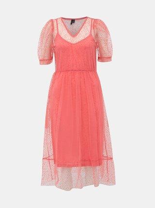 Rúžové bodkované šaty VERO MODA Masha