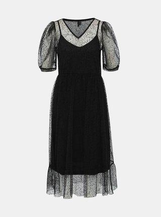 Černé puntíkované šaty VERO MODA Masha