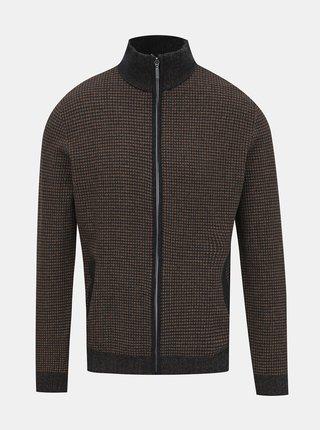 Tmavě hnědý pánský svetr na zip Tom Tailor