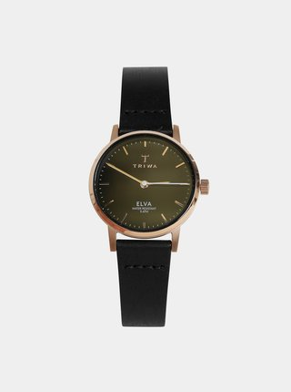 Dámské hodinky s černým koženým páskem TRIWA Elva