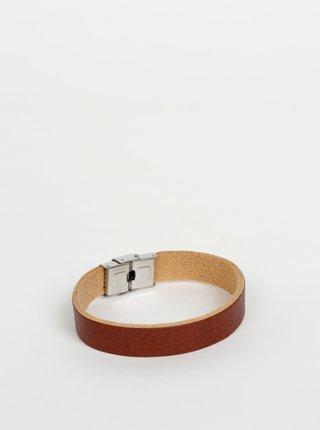 Hnědý kožený náramek OJJU