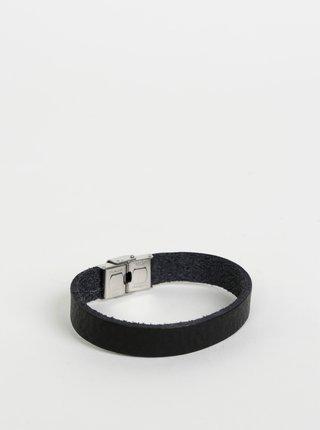 Čierny kožený náramok OJJU