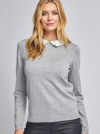 Šedý svetr s límečkem Dorothy Perkins