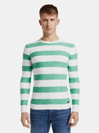 Zeleno-biely pánsky pruhovaný basic sveter Tom Tailor Denim