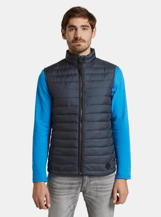 Tmavě modrá pánská vzorovaná prošívaná voděodpudivá vesta Tom Tailor