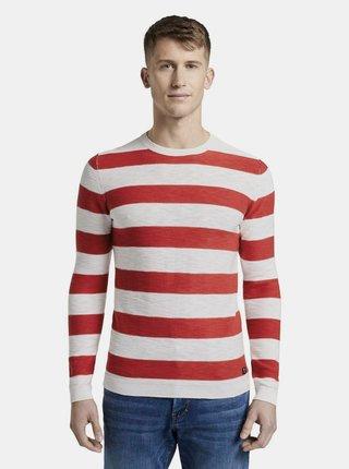 Červeno-bílý pánský pruhovaný basic svetr Tom Tailor Denim