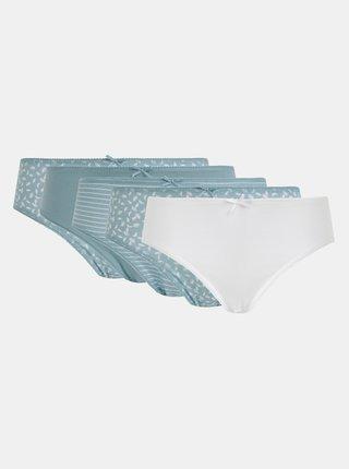 Sada pěti vzorovaných kalhotek v modré a bílé barvě  M&Co