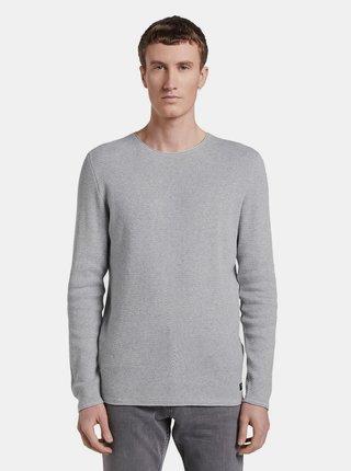 Světle šedý pánský basic svetr Tom Tailor Denim