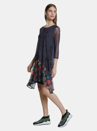 Tmavomodré vzorované šaty Desigual