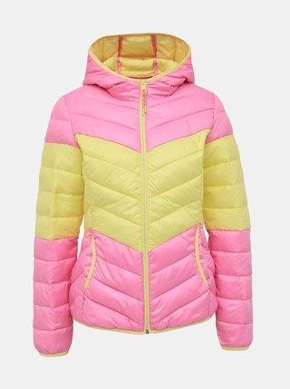 Žlto-ružová dámska prešívaná bunda Tom Tailor Denim