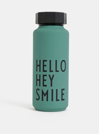 Zelená termolahev Design Letters Hello Hey Smile 500 ml