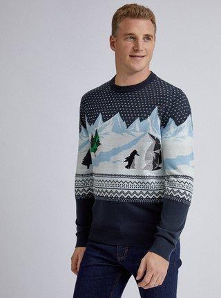 Tmavě modrý vzorovaný svetr s výšivkou Burton Menswear London Penguin Polygon