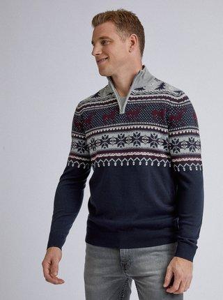 Tmavě modrý vzorovaný svetr Burton Menswear London Reindeer