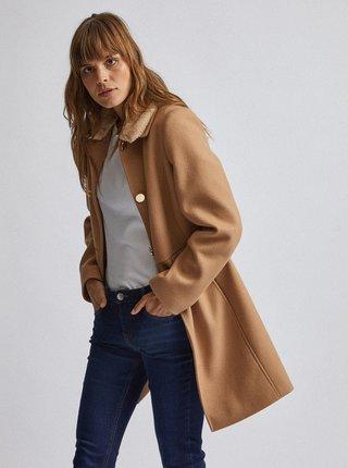 Světle hnědý kabát s odnímatelným límcem z umělé kožešiny Dorothy Perkins