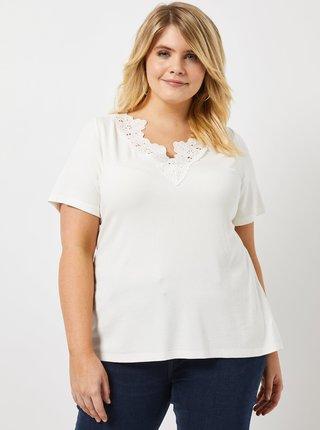 Biele rebrované tričko s čipkou Dorothy Perkins Curve