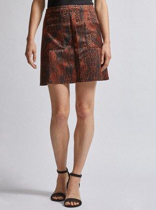 Čierno-hnedá sukňa s hadím vzorom Dorothy Perkins