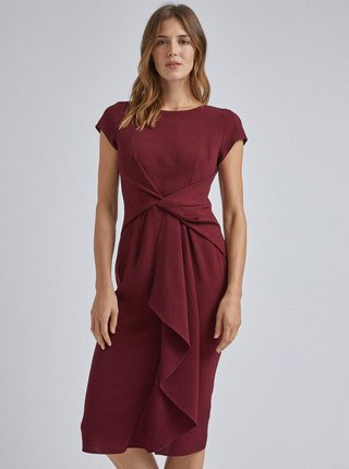 Vínové púzdrové midi šaty Dorothy Perkins