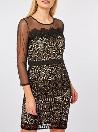 Rochie crem-negru din dantela si detalii transparente Dorothy Perkins