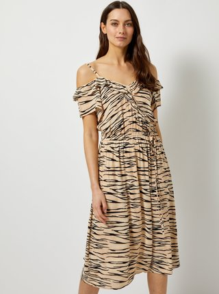 Béžové šaty s odhalenými ramenami a zebrovaným vzorom Dorothy Perkins