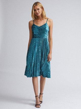 Modré sametové šaty s plisovanou sukňou Dorothy Perkins