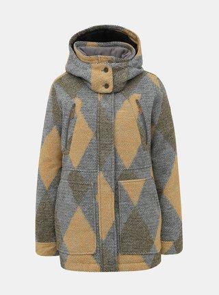 Horčicovo-šedý vzorovaný kabát Roxy Dawn