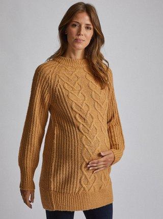 Béžový těhotenský dlouhý svetr Dorothy Perkins Maternity