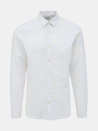 Bílá slim fit košile s příměsí lnu ONLY & SONS Caiden
