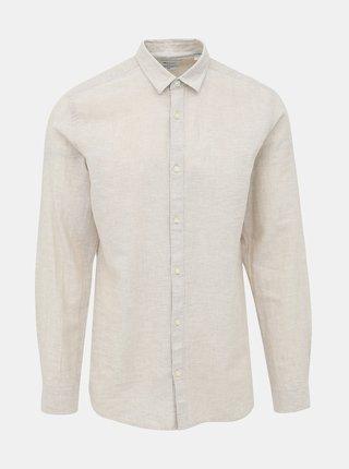 Béžová slim fit košeľa s prímesou ľanu ONLY & SONS Caiden