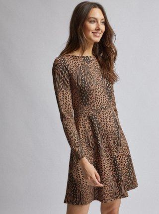 Hnědé šaty se zvířecím vzorem Dorothy Perkins