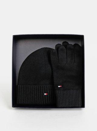 Sada čiernej čiapky a rukavíc Tommy Hilfiger