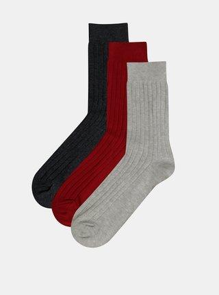 Sada troch párov ponožiek v šedej a červenej farbe Jack & Jones Gam